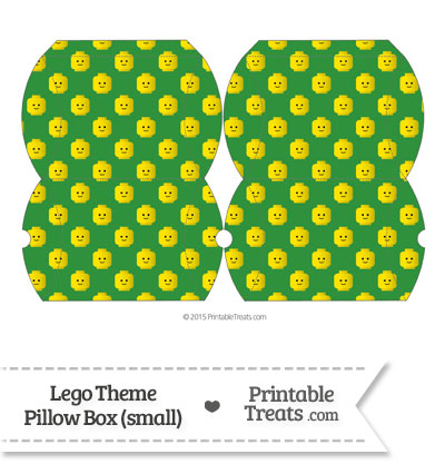 Small Green Lego Theme Pillow Box from PrintableTreats.com