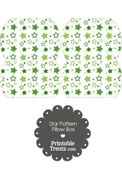 Small Green Star Pattern Pillow Box from PrintableTreats.com