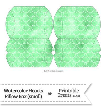 Small Green Watercolor Hearts Pillow Box from PrintableTreats.com