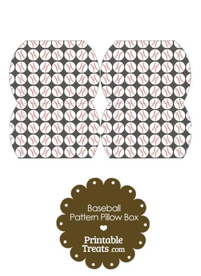 Small Grey Baseball Pattern Pillow Box from PrintableTreats.com