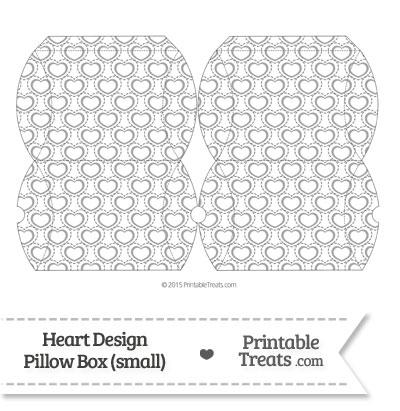Small Grey Heart Design Pillow Box from PrintableTreats.com