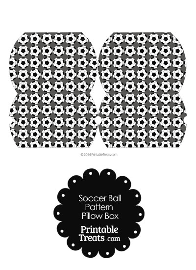 Small Grey Soccer Ball Pattern Pillow Box from PrintableTreats.com