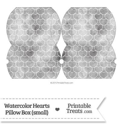 Small Grey Watercolor Hearts Pillow Box from PrintableTreats.com