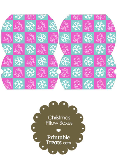 Small Hello Kitty Christmas Checkered Pillow Box from PrintableTreats.com