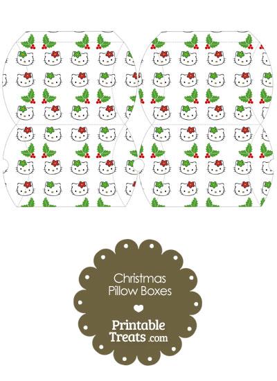 Small Hello Kitty Christmas Holly Pillow Box from PrintableTreats.com