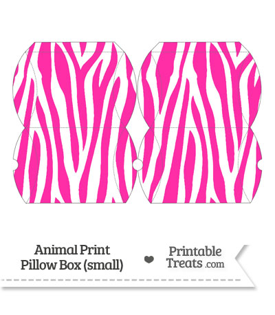 Small Hot Pink and White Zebra Print Pillow Box from PrintableTreats.com