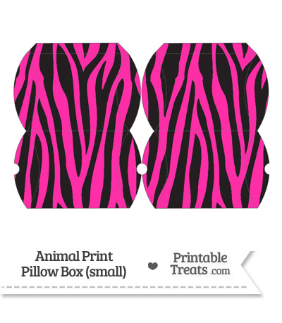 Small Hot Pink Zebra Print Pillow Box from PrintableTreats.com
