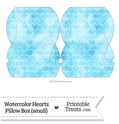 Small Light Blue Watercolor Hearts Pillow Box from PrintableTreats.com