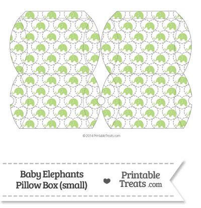 Small Light Green Baby Elephants Pillow Box from PrintableTreats.com