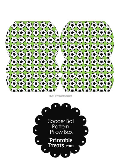 Small Light Green Soccer Ball Pattern Pillow Box from PrintableTreats.com