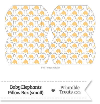 Small Light Orange Baby Elephants Pillow Box from PrintableTreats.com