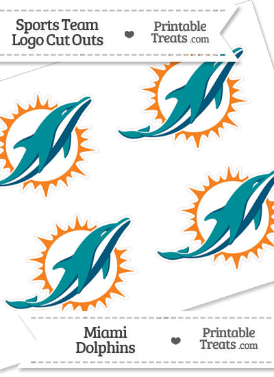 Small Miami Dolphins Logo Cut Outs from PrintableTreats.com