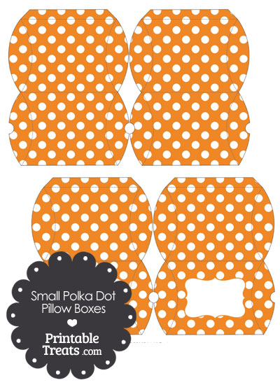 Small Orange and White Polka Dot Pillow Box from PrintableTreats.com