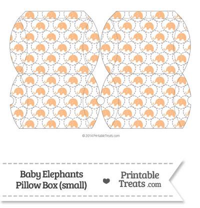 Small Orange Baby Elephants Pillow Box from PrintableTreats.com