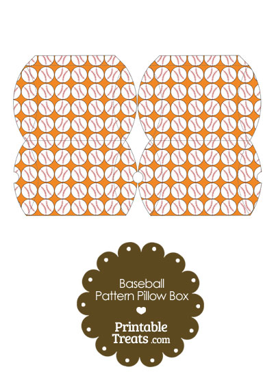 Small Orange Baseball Pattern Pillow Box from PrintableTreats.com