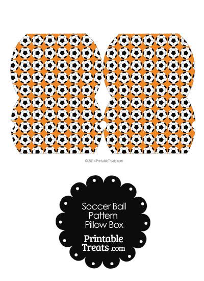 Small Orange Soccer Ball Pattern Pillow Box from PrintableTreats.com