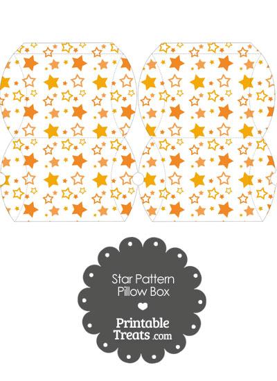 Small Orange Star Pattern Pillow Box from PrintableTreats.com