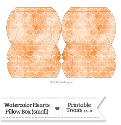 Small Orange Watercolor Hearts Pillow Box from PrintableTreats.com