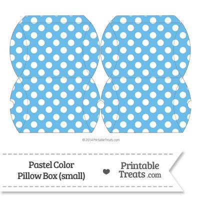 Small Pastel Blue Polka Dot Pillow Box from PrintableTreats.com