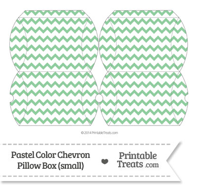Small Pastel Green Chevron Pillow Box from PrintableTreats.com