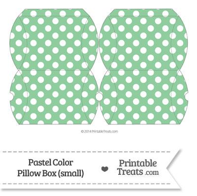 Small Pastel Green Polka Dot Pillow Box from PrintableTreats.com
