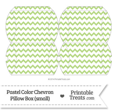 Small Pastel Light Green Chevron Pillow Box from PrintableTreats.com