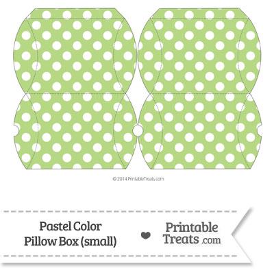 Small Pastel Light Green Polka Dot Pillow Box from PrintableTreats.com