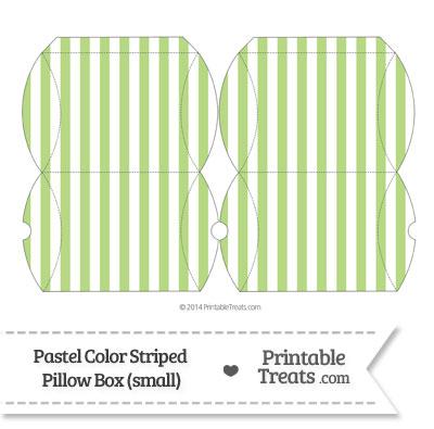 Small Pastel Light Green Striped Pillow Box from PrintableTreats.com