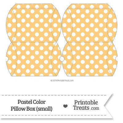 Small Pastel Light Orange Polka Dot Pillow Box from PrintableTreats.com