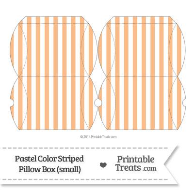 Small Pastel Orange Striped Pillow Box from PrintableTreats.com