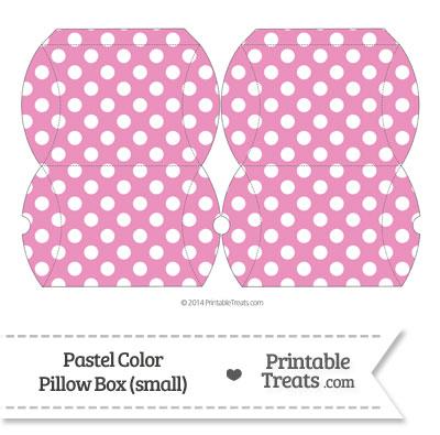 Small Pastel Pink Polka Dot Pillow Box from PrintableTreats.com