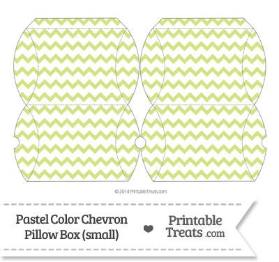 Small Pastel Yellow Green Chevron Pillow Box from PrintableTreats.com