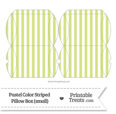 Small Pastel Yellow Green Striped Pillow Box from PrintableTreats.com