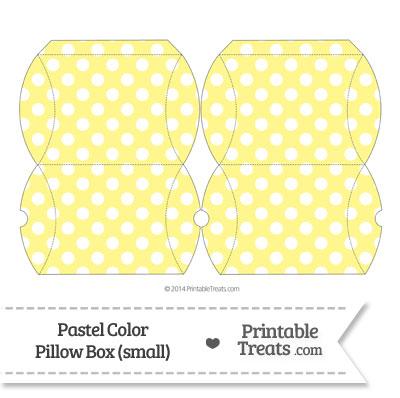 Small Pastel Yellow Polka Dot Pillow Box from PrintableTreats.com