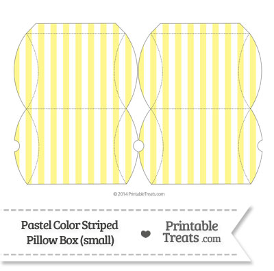 Small Pastel Yellow Striped Pillow Box from PrintableTreats.com