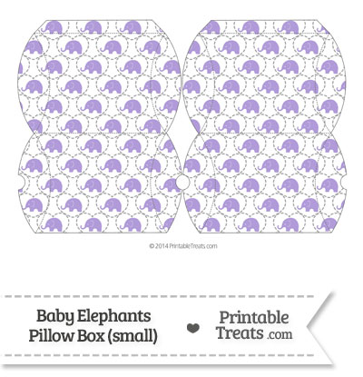 Small Purple Baby Elephants Pillow Box from PrintableTreats.com