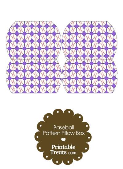 Small Purple Baseball Pattern Pillow Box from PrintableTreats.com