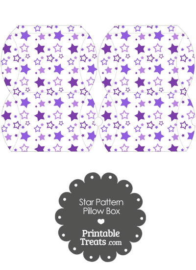 Small Purple Star Pattern Pillow Box from PrintableTreats.com