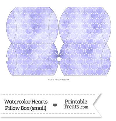 Small Purple Watercolor Hearts Pillow Box from PrintableTreats.com