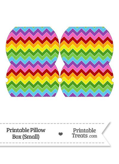 Small Rainbow Chevron Pillow Box from PrintableTreats.com