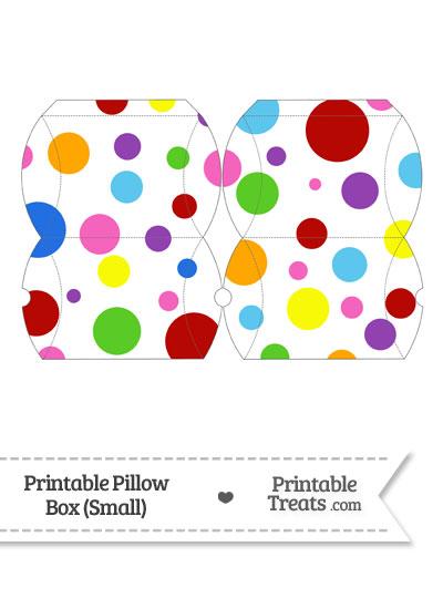 Small Rainbow Dots Pillow Box from PrintableTreats.com