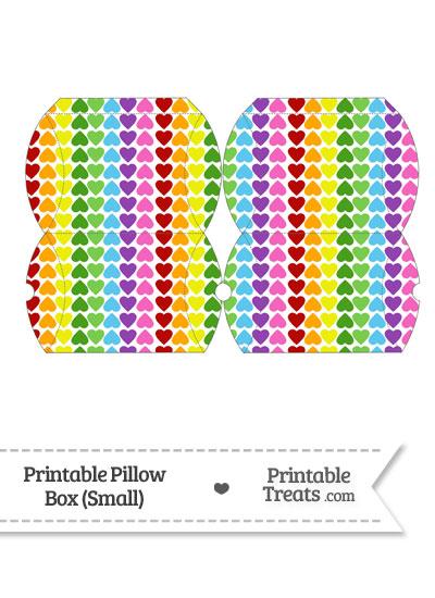 Small Rainbow Hearts Pillow Box from PrintableTreats.com