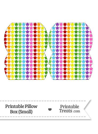 Small Rainbow Stars Pillow Box from PrintableTreats.com