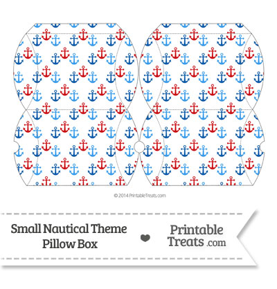 Small Red and Blue Anchors Pillow Box from PrintableTreats.com