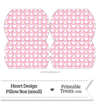 Small Red and Pink Heart Design Pillow Box from PrintableTreats.com
