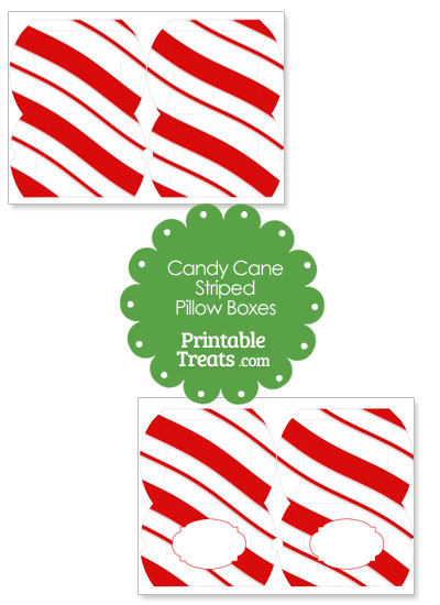 Small Red Candy Cane Striped Pillow Box from PrintableTreats.com