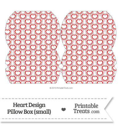 Small Red Heart Design Pillow Box from PrintableTreats.com