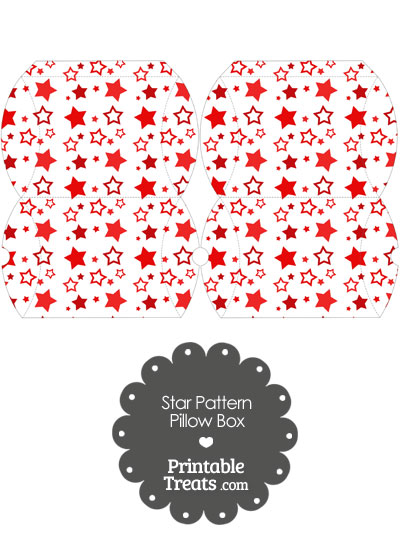 Small Red Star Pattern Pillow Box from PrintableTreats.com