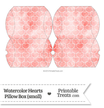 Small Red Watercolor Hearts Pillow Box from PrintableTreats.com