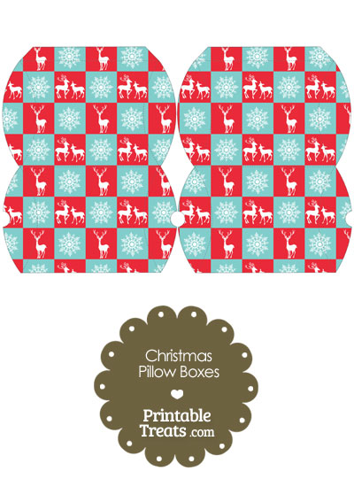 Small Reindeer and Snowflakes Pillow Box from PrintableTreats.com